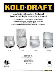 ice maker kold draft60 series service manual rev 04 2013 heat