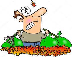 cartoon man raking leaves u2014 stock vector ronleishman 13984086