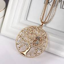 long owl pendant necklace images Owl pendant tree of life environmental alloy 60cm chain 3 jpeg