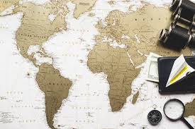 map travel travel composition with world map and decorative items photo