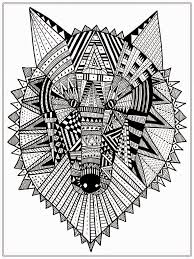 wolf head mandala coloring pages printable tri color digital