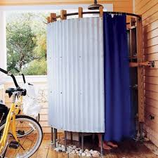 Outdoor Shower Curtains Blue Shower Curtain For Simple Outdoor Shower Corrugated Metal