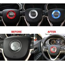 jeep steering wheel emblem car steering wheel cover sequin stickers aluminum trim accessories