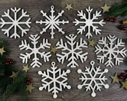 ornament wooden snowflake set of 10 wood