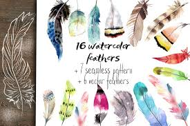 set of feather and pattern illustrations creative market