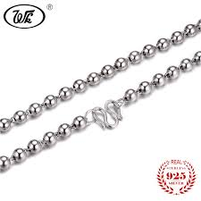 sterling silver necklace chains images Wk 100 pure 925 sterling silver bead ball necklace chain men jpg