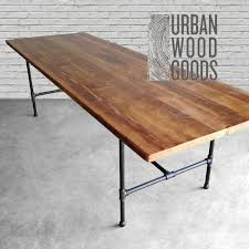 reclaimed wood table with metal legs wood dining room table with reclaimed wood top and iron pipe