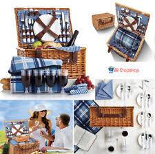 Picnic Basket Set Wicker Picnic Basket For 4 Wine Glass Plates Utensils Outdoor