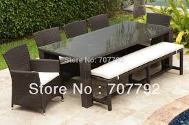Outdoor Dining Area With No Chairs 7 Resin Wicker Outdoor Dining Furniture Set In Garden Sets