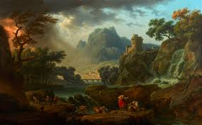 Mountain Landscape Paintings by Vernet A Mountain Landscape With An Approaching Storm Art