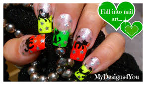 halloween neon nail art how to paint a black cat youtube