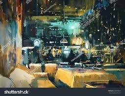Colorful Interior Painting Showing Colorful Interior Bar Restaurant Stock