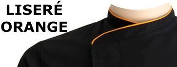 veste de cuisine noir veste de cuisine homme liseré orange