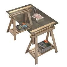 bureau avec treteau bureau tréteaux inclinable avec plateau verre transparent achat