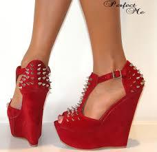 ladies black red high wedge heels platform t bar spike stud studs