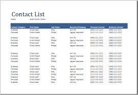Document Template Excel Contact List Template Excel Free Business Template