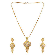 gold set gold plated real gold design pendant set with chain for women