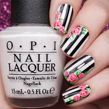 floral nails with black and white stripes floral nails and