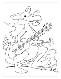 kangaroo playing guitar coloring pages download free kangaroo