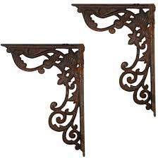 wrought iron supports rusted cast iron decorative shelf