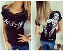 back hollow angle wings lace collar macrame sleeve t shirt