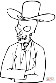 skeleton in hat coloring page free printable coloring pages