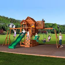 new big 9 kid cedar wood fort playground slide monkey bars swing