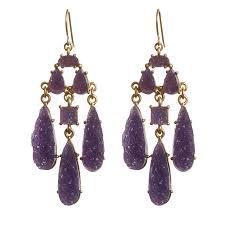 purple earrings druzy chandelier purple earrings ktcollection