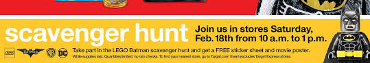 target creator lego black friday the lego batman movie scavenger hunt this saturday at target the