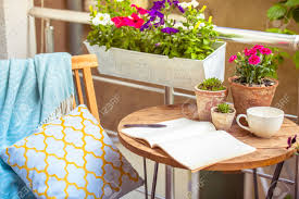 Beautiful Balcony Beautiful Terrace Or Balcony With Small Table Chair And Flowers