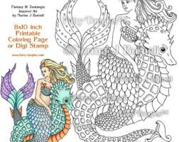 moon swimming mermaid fairy tangles printable coloring