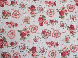 rose floral hearts 100 cotton fabric shabby chic vintage retro pm