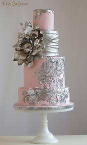 silver wedding cakes pink and silver wedding cake makemememycake