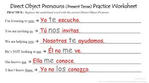 direct object pronouns in spanish present tense tpt
