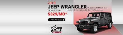 jeep wrangler lease chrysler dodge jeep ram dealership marshall mi used cars cole