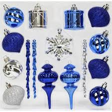 time ornaments blue silver mini shatterproof