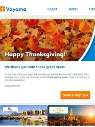 vayama happy thanksgiving we thank you with these great deals
