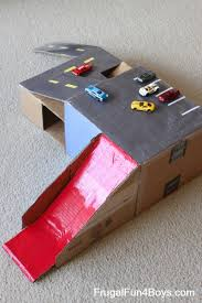 cardboard box wheels car garage with ramps