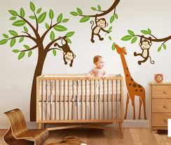 Giraffe Wall Decals For Nursery Monkeys Hanging On Tree With Giraffe Wall Decal Nursery Tree Wall