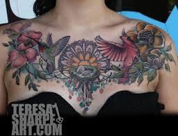 flower breast bird by teresa sharpe
