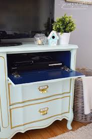 Dresser With Pull Out Desk How To Make A Flip Down Media Drawer Love Pomegranate House