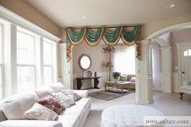 Swag Curtains For Living Room Green Chenille Swag Valance Curtains Traditional Living Room