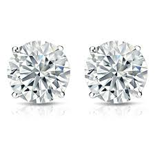 stud diamond earrings 18k white gold diamond stud earrings 4 prong