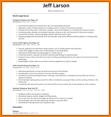 sample resume receptionist functional resume format template