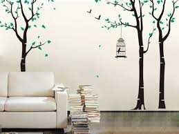 home interior bird cage three birch trees and birdcage wall decal contemporary wall pop