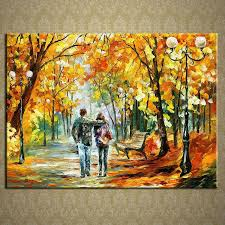 painting for home decoration stretched beautiful autumn scenery knife oil painting canva ready to