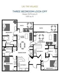 2 Bedroom Condo Floor Plan Liki Tiki Village Orlando Florida Three Bedroom Condo