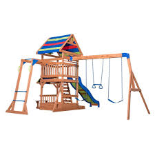 backyards bright backyard discovery playsets beach front wooden