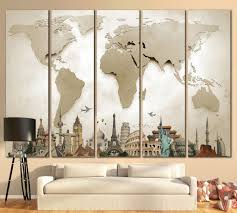 World Map Curtains by Large World Map 702 Canvas Print Zellart Canvas Arts Living