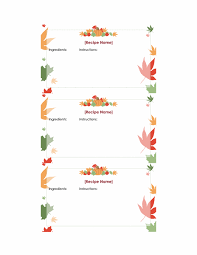 thanksgiving recipe cards 3 per page office templates